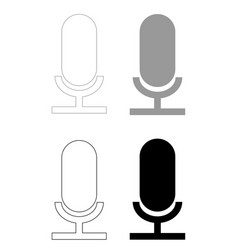 Microphone the black and grey color set icon vector