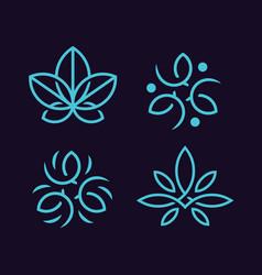 modern professional logo ornaments set in blue vector image