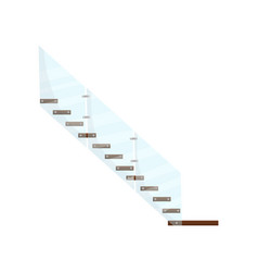 Modern staircase with wooden steps and glass vector