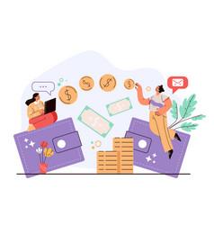 money electronic digital online internet transfer vector image
