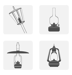 monochrome icon set with kerosene lamps vector image