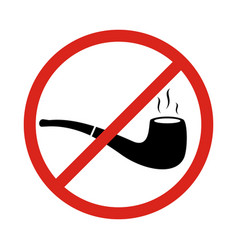 No smoking sign with tobacco pipe symbols no vector