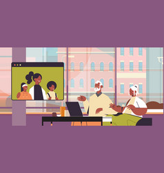 parents with child having virtual meeting vector image