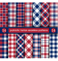 Patriotic tartan set of white blue red seamless vector