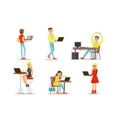 people using laptop computers set young men and vector image