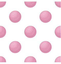 Pink rubber bouncy ball for exercises fitball vector