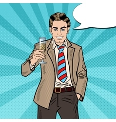 Pop Art Businessman with Champagne Glass vector image vector image
