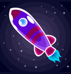 purple space rocket with red stripes and a vector image