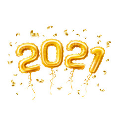 realistic 2021 gold air balloons confetti new year vector image
