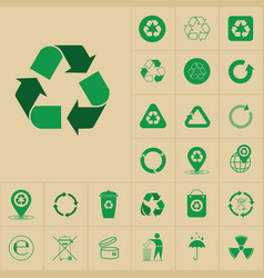 recycle waste symbol green arrows logo set web vector image
