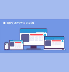 Responsive website webpage on different devices vector