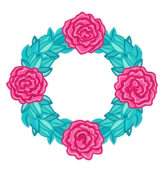 Round wreath frame with pink roses and leaves vector