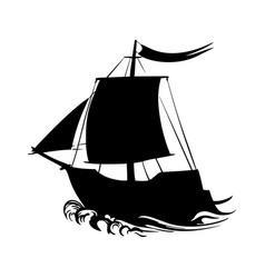 Sailing ship silhouette pirate boat and sea vector