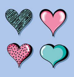 set different heart shapes symbol of love vector image