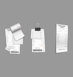 Set hop receipt paper cash checks with clip vector