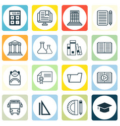Set of 16 school icons includes home work e vector