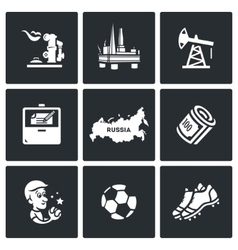 Set of russia icons gas oil contract vector