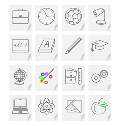 set of sixteen images - icons for a school vector image
