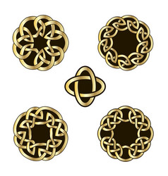 set of vintage icons of traditional celtic style vector image