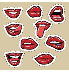 Set red female lips and tongue vector