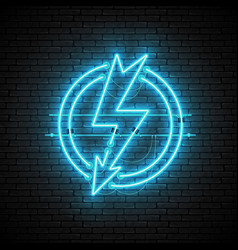 shining and glowing blue lightning neon sign in vector image