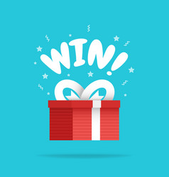 shining gift box with win sign and stars present vector image