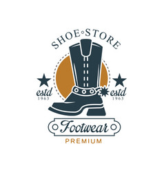 Shoe store footwear premium estd 1963 vintage vector