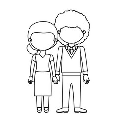 Sketch silhouette faceless couple woman with vector