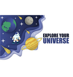 space journey in paper art vector image