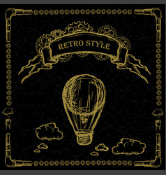 steampunk vintage hot air balloon vector image