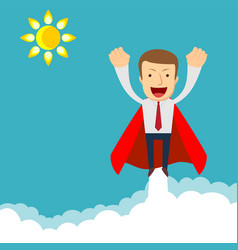 Superhero - businessman in red capes flying vector