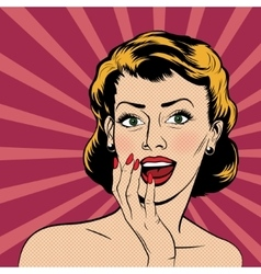 surprised woman in pop art comics style vector image