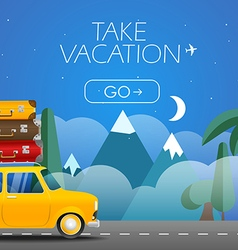 Take Vacation travelling concept Flat design Retr vector image