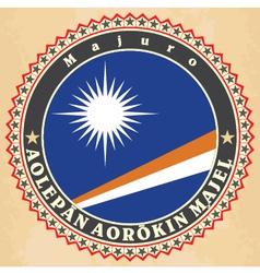 Vintage label cards of Marshall Islands flag vector image