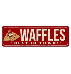 Waffles vintage rusty metal sign vector