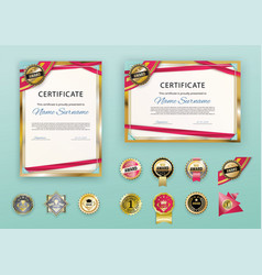 white modern certificates with abstract red ribbon vector image