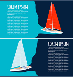 yacht club flyers design with sail boat vector image
