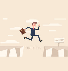 a businessman jumps over problems in order to vector image