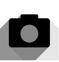 digital camera sign black icon with two vector image