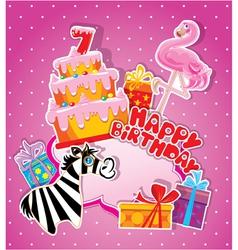 happy birthday 7year 380 vector image vector image