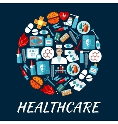 Healthcare flat icons in a shape of circle vector image