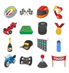 Car racing cartoon icons set vector image vector image