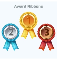 Colorful Award Ribbons gold silver and bronze vector image