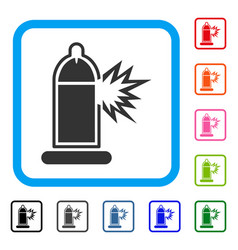 condom penis damage framed icon vector image vector image