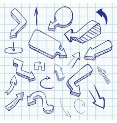 Doodle arrow collection hand drawn vector image