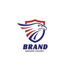 Eagle heads with shields logo vector