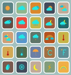 Weather flat color icons on blue background vector image
