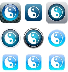 Ying yang blue app icons vector image vector image