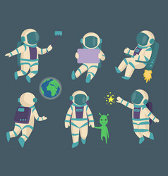 astronauts in space working character and vector image vector image