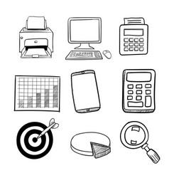 doodle business icon set 2 - hand drawn vector image